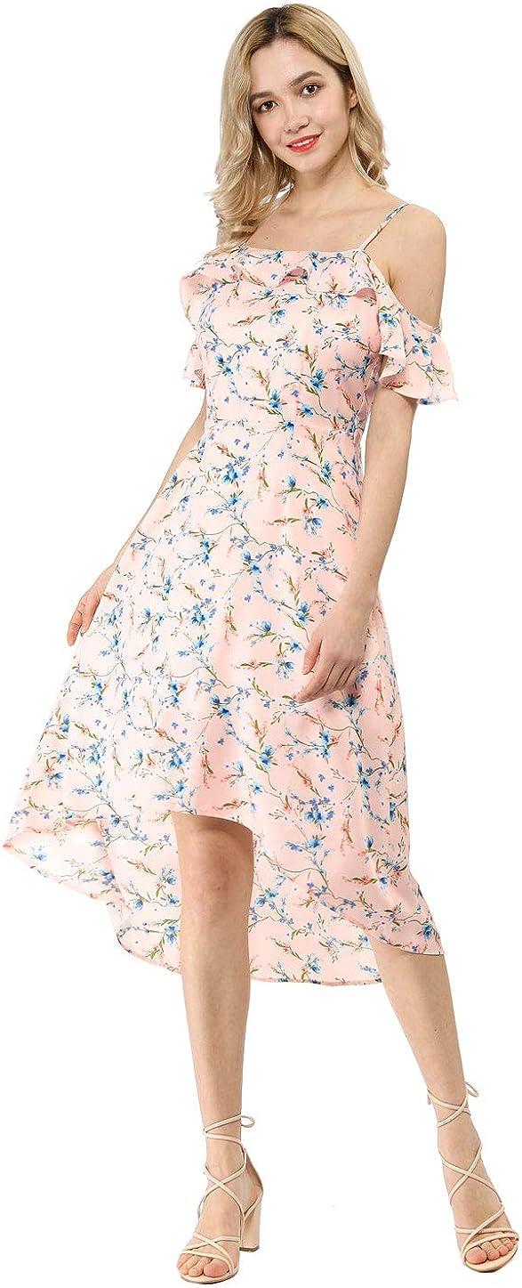 Allegra K Women's Spaghatti Straps Ruffled Sleeves Asymmetrical High Low Floral A-Line Midi Dress