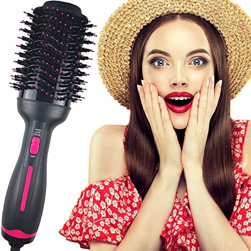 Ulixii Haartrockner Warmluftbürste, Rosa Heißluftbürste Negativer Ion Föhnbürste Stylingbürsten Haarglätter Bürste Heißluftkamm Für Alle Styling, 3 Temperaturen und Modi