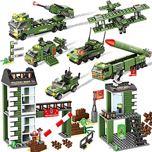 1162 Pieces Army Military Base Building Blocks Set, Army Combat Force Bricks Toy with Army Vehicle & Airplane, with Blocks Storage Box, Pretend War & Action Roleplay Toy Gift for Kids Boys Girls 6-12
