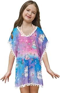 Unicorn Cover Up for Girls Rainbow Swimwear Coverups Swimsuit Beach Dress Top with Pompom Tassel