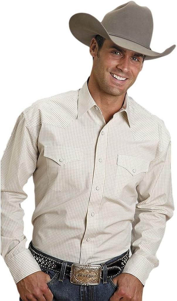 Stetson Western Shirt Mens L/S Snap Plaid Gold 11-001-0478-0032 YE
