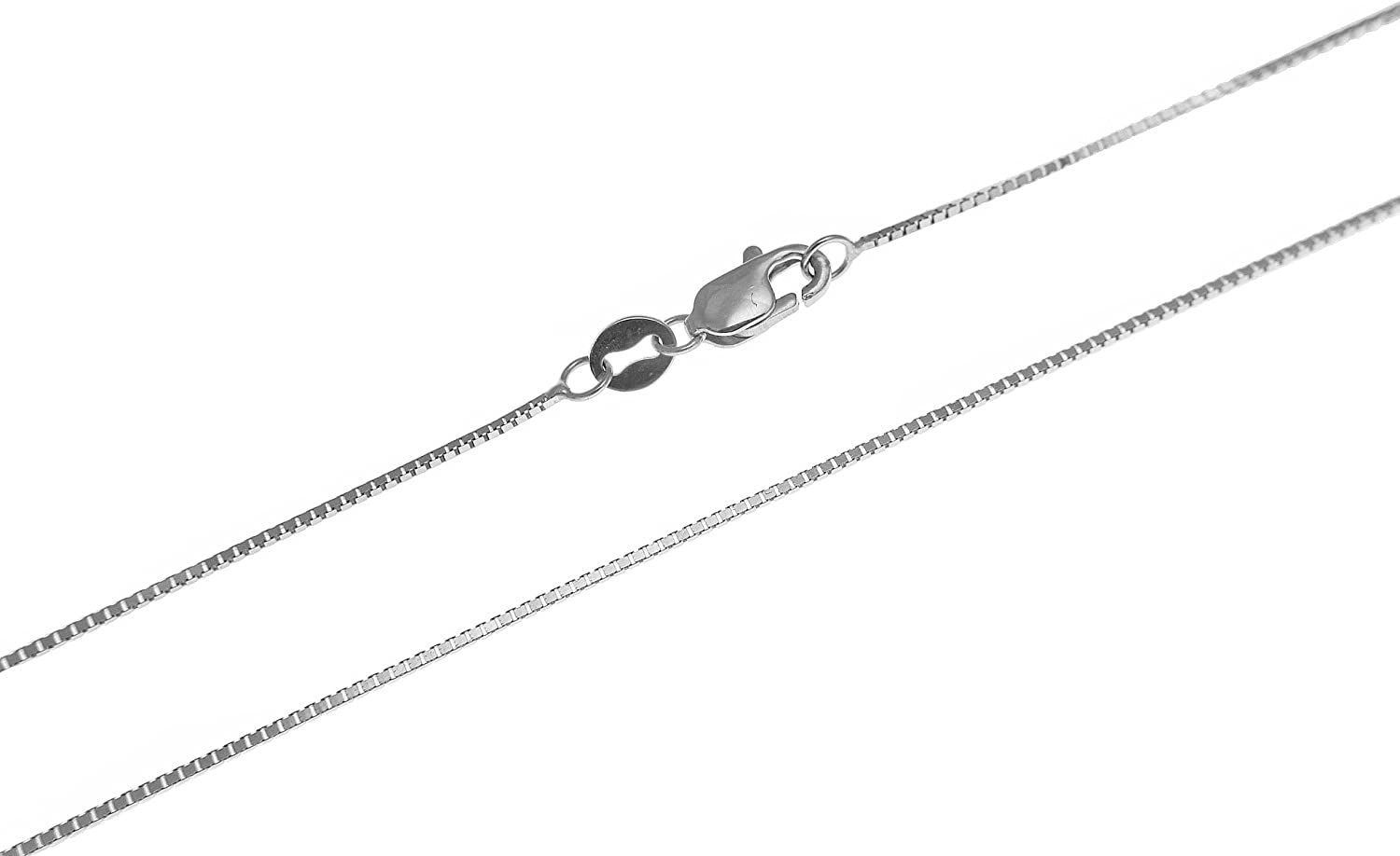14K solid white gold 0.65mm box chain necklace lobster clasp 16