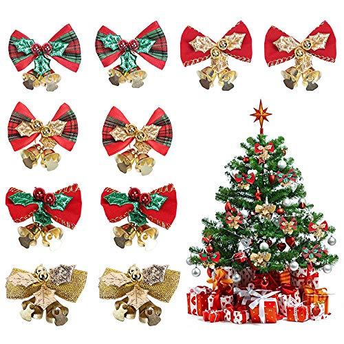 Lifreer, 10 fiocchi per albero di Natale con campanelle, mini campanelle di Natale da appendere, con fiocco per decorazioni natalizie, regali per confezionare manuali, 5 stili