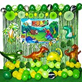 Dinosaur Party Decorations - 154 PCS Dinosaur Party Favors Contain Dinosaur Balloons Green curtains Happy Birthday Banner Dinosaur Baby Shower Decorations for Boy