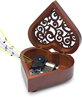 Wooden Music Box You are My Sunshine Heart-Shaped Wind Up Clockwork Mechanism Musical Gifts for Kids (A)