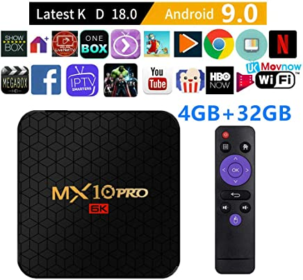 $30 » TTV Box Android TV Box Android 9.0 OS Smart TV Box Media Player 4GB 32GB MX10 Pro Support USB 3.0 2.4G- 5G Dual-Band Wi-Fi 3D 4K Full HD H.265 100M Ethernet [2019 New]