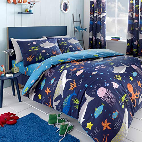 Bedlam Sea Life-Glow in The Dark Duvet Cover Set, Multicolour, Single