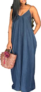 Strapless V Neck Backless Casual Loose Denim Dresses Plus Size Floor-Length Vestidos