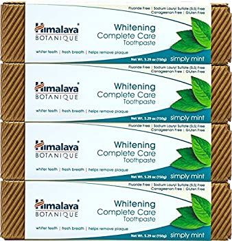 Himalaya Whitening Toothpaste - 5.29 oz/150 gm Natural Fluoride-Free & SLS-Free  Mint 5.29 Ounce  Pack of 4