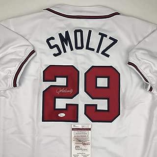 Autographed/Signed John Smoltz Atlanta White Baseball Jersey JSA COA