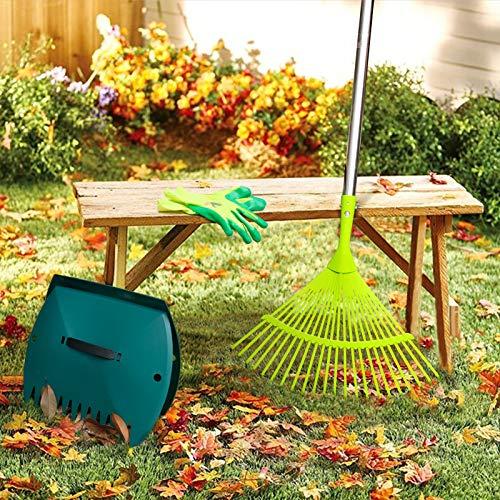 Hortem 3PCS Garden Rakes Adjustable, 24-Teeth Yard Leaf Rake and Lightweight Leaf Scoops, Ideal Rake Set for Camping, Gardening or Lawn Maintenance