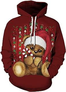 Men's Novelty Hoodie Christmas Realistic 3D Print Hooded Sweatshirt Unisex Pullover