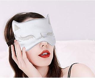 IYOU Máscara de seda para mujer, diseño de gato plateado satinado de seda para dormir, opaca, para ojos, sombra de ojos, m...