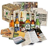 """Idea de regalo""""especialidades de cerveza de Alemania"""" para hombres INCL. Posavasos de cerveza + caja de regalo + información de cerveza. Idea de regalo inusual para hombres (6x0.33l)"""