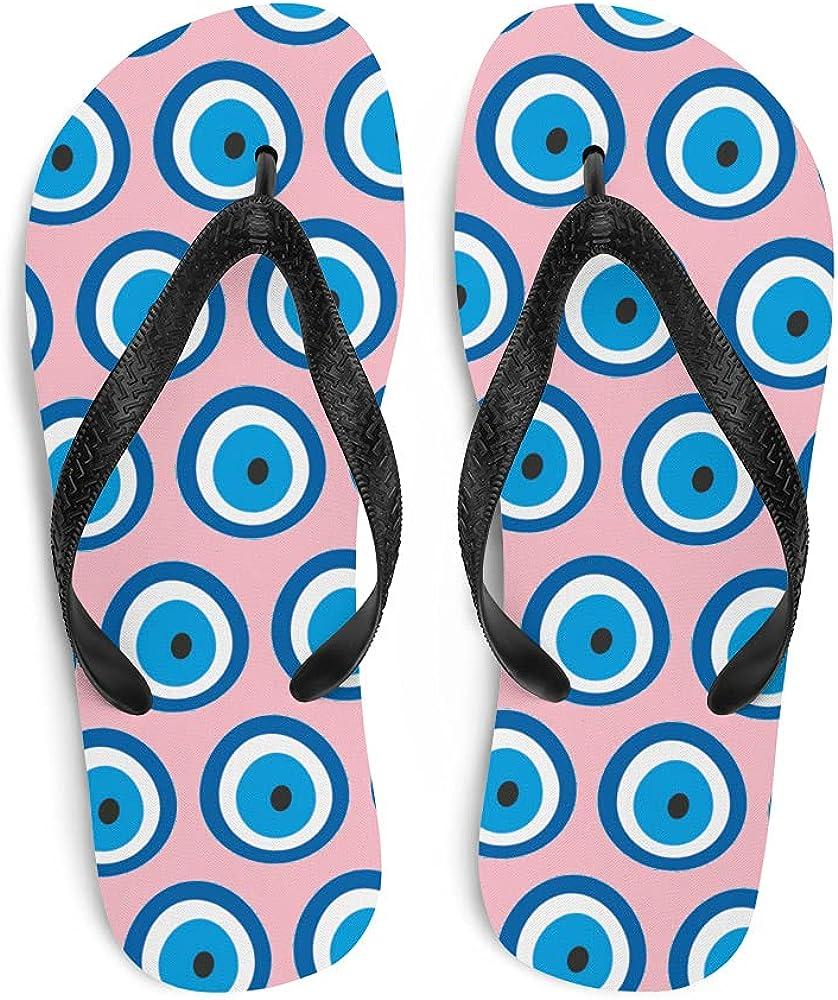 Evil Eye Flip-Flops Blue (Protection Against The Evil Eye Curse) - Light Pink (See Description for Size Chart)