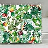 Poliestere Bagno Tende da Sole Resistente alle Muffe, Facile da Pulire, Tenda Doccia Antimuffa 180x180 cm (Cactus)