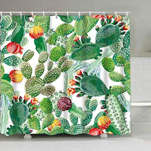Aitsite Duschvorhänge Duschvorhang Anti-Schimmel, Anti-Bakteriell, Waschbar Badewanne Vorhang Polyester Stoff mit 12 Duschvorhangringen 180x180 cm Grüner Kaktus