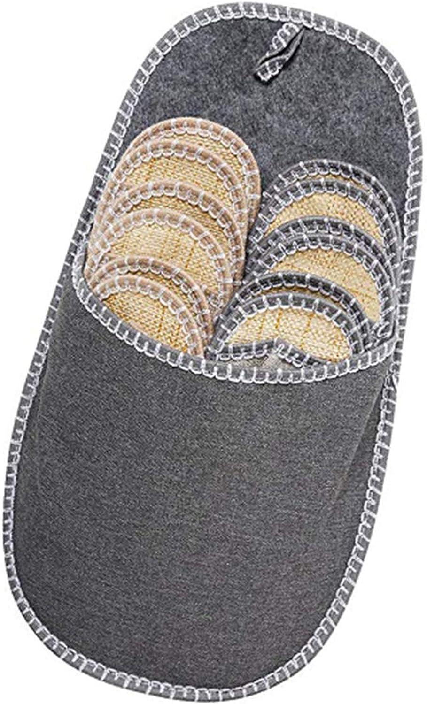 Alomoc Unisex Open Toe Fleece Felt Slippers Indoor Family Guest shoes Set Hang Strap (6 Pairs shoes & 1 Big shoes Bag)