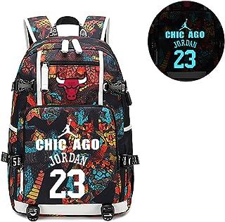 58591b9b458 Lorh's store Joueur de Basket-Ball Star Michael Jordan Sac à Dos Lumineux  Voyage étudiant