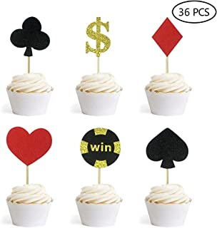 Glitter Poker Heart Cupcake Toppers Playing Cards Muffin Cake Fruit Food Picks Casino Party Decor 36 PCS
