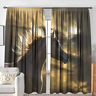 NUOMANAN Rod Pocket Blackout Curtain Horse Decor,Chestnut Horse Profile on Dramatic Cloudy Sunset Sky Strong Wild Young Mammal,Brown Yellow,Decor/Room Darkening Window Curtains 54