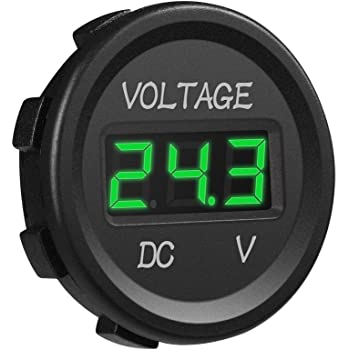 Amazon Com Mini Waterproof Voltmeter With Led Digital Display Voltage Meter Dc 12v 24v Universal For Car Motorcycle Truck Green Home Audio Theater
