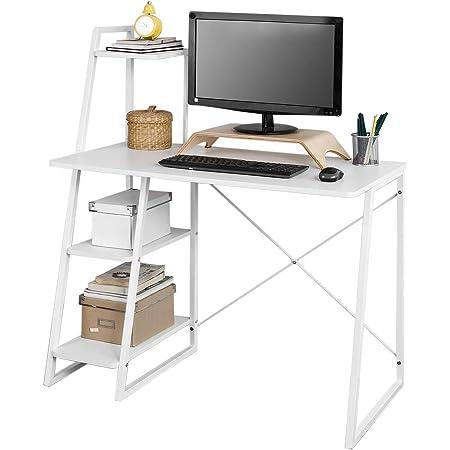SoBuy® FWT29-W Bureau Informatique Secrétaire Table Plan de Travail avec 3 étagères Cadre métal -Blanc