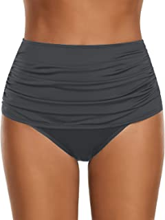 4e222fb17e GRAPENT Women's High Waisted Swim Bottom Ruched Bikini Tankini Swimsuit  Briefs