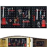 Froadp Estante Herramientas Paneles Perforados de Metal Paredes Planchas de Construcción con 17 Ganchos Panel de Clavijas Tablero Porta para Banco de Trabajo(Tipo A, 120x60x2cm)