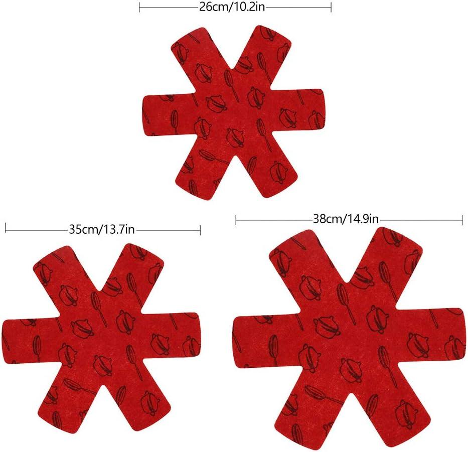 N//U 15Pcs Protection Casseroles et Prot/ège-Po/êle en Feutre Rembourr/é Po/êle Protection avec 3 Tailles Coussinets dintercalaire S/épar/é Prot/éger Surfaces de Ustensiles de Cuisine Eviter Rayures Rouge