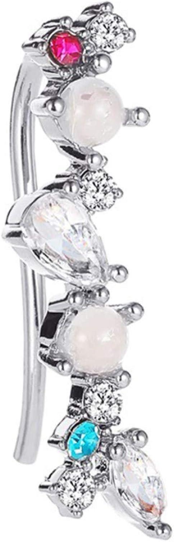 Ear Cuff, 1Pc Women Elegant Cubic Zirconia Faux Pearl Shining Ear Cuff Earrings Jewelry - Golden
