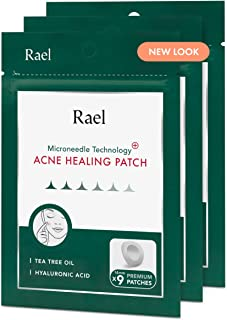 Rael Microneedle Acne Healing Patch - Pimple Acne Spot Tea Tree Treatment (3 Pack, 27 Patches)