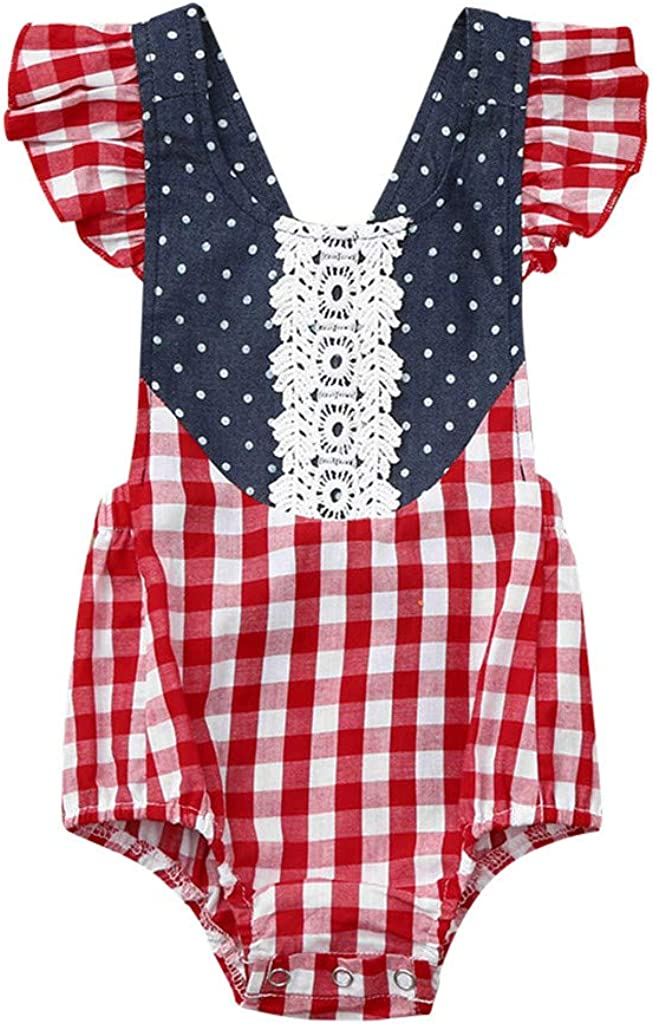 Kehen Infant Newborn Baby Girl Summer Outfit Starps Rompe Bodysuit Backless Plaid Print Overalls
