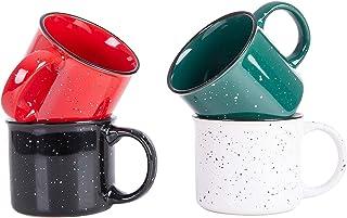 مجموعه لیوان قهوه Cutiset 14 اونس Ceramic Speckled Campfire قهوه 4 (مینا-چند رنگ)