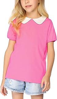 Arshiner Girls Short Sleeve Tops Basic Peter Pan T-Shirts Soft Blouses Tees