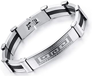 Man Silicone and Steel Bracelets Classical The Great Wall Design Stainless Steel 22CM Long Bangles Men Jewelry