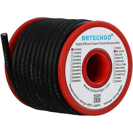 Bntechgo 10/Coque en silicone de calibre 50/pieds Rouge souple et r/ésistant aux temp/ératures /élev/ées tr/ès efficace 10/AWG Fil de silicone 1050/brins de fil de cuivre /étam/é