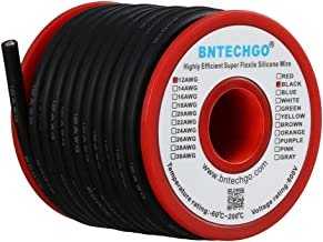 BNTECHGO 12 Gauge Silicone Wire Spool Black 25 feet Ultra Flexible High Temp 200 deg C 600V 12 AWG Silicone Rubber Wire 68...