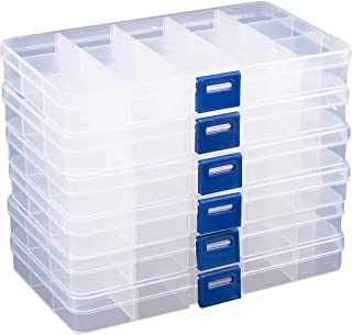 Clear Jewelry Box - 6-Pack Plastic Bead Storage Container, Earrings Storage Organizer with Adjustable Dividers, 15 Compartments Each, 6.7 x 0.8 x 4 Inches