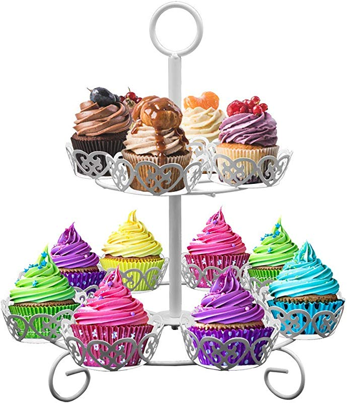 Royal Brands Cupcake Stand Holds Up To 12 Cupcakes White Elegant 2 Tiers For All Occasions Birthday Baby Shower Parties