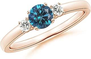 Round Enhanced Blue & White Diamond Past Present Future Ring (4.8mm Enhanced Blue Diamond)