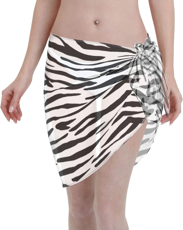 Reindeer Horn Women Short Black White Zebra Stripe Sarongs Cover Ups Beach Chiffon Sarong Bikini Swimwear