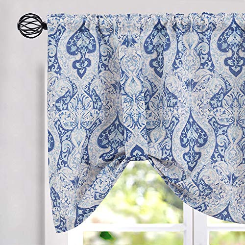 jinchan Tie Up Valances for Kitchen Windows Retro Linen Blend Damask Printed Curtains Rod Pocket for Small Windows 18 Inches Long (1 Panel, Blue)