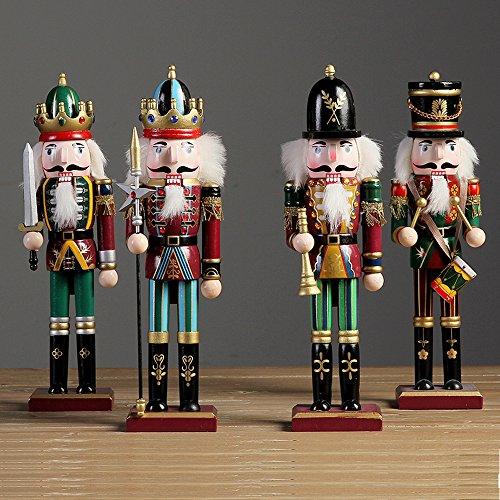 4 Stück 30cm Nußknacker Nussknacker Handpuppe Figur aus Holz Weihnachten Dekor Soldaten Spielzeug
