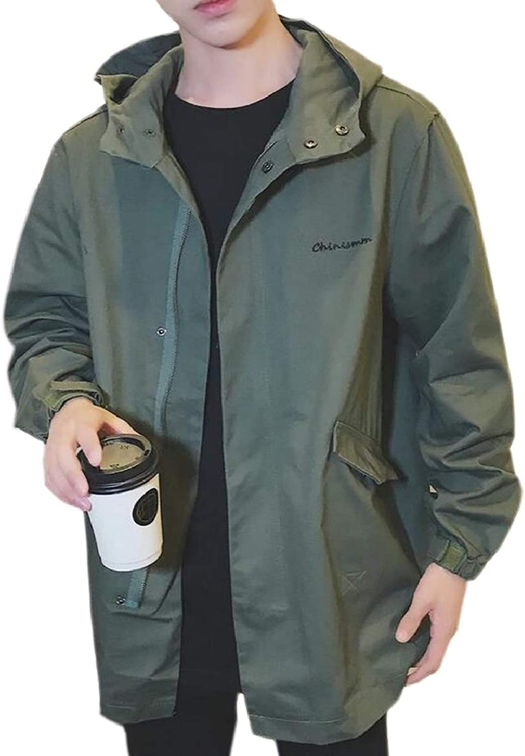 8b7ed64166 RG-CA RG-CA RG-CA Men's Plus-Size Jacket Coat Relaxed Trench Elong Zip-Up  Outerwear 62f14f