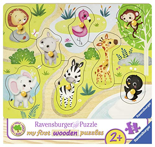 Ravensburger Kinderpuzzle 03687 - Unterwegs im Zoo - 10 Teile Holzpuzzle