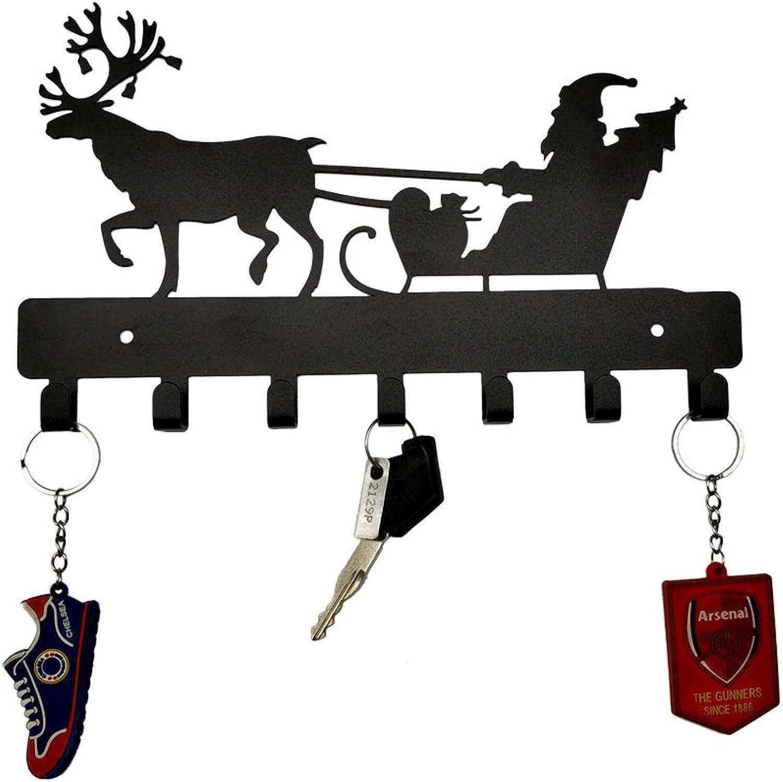 HeavenlyKraft Santa Claus Merry Christmas Wall Mounted Metal Key Holder, Key Rack Organizer for Entryway and Kitchen - Wall Mounted, Key Organizer, Metal Key Hook, 10.6 X 6.5 X 0.8 inch