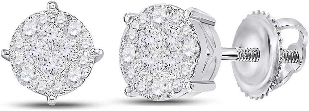 14K Credence White Gold Womens Cheap bargain Princess Earrings Cluster Fashion Diamond