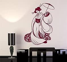 Wall Words Sayings Removable Lettering Pretty Japan Woman Japanese Geisha Kimono for Living Room Bedroom