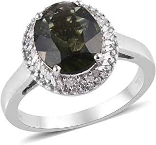 Moldavite Diamond Cocktail Ring 925 Sterling Silver Platinum Plated Jewelry for Women Ct 3.2